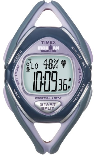 Cheap Timex Ironman Race Trainer Heart Rate Monitor Watch, Grey/Lilac, Mid Size (T5K218F5)