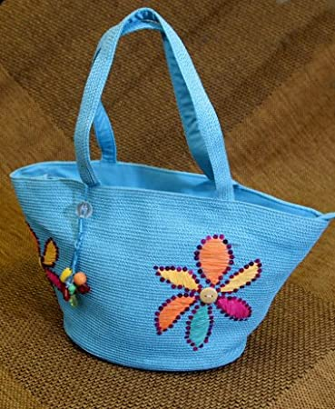 Floral Adorned Zippered Tote Bag - Aqua Blue