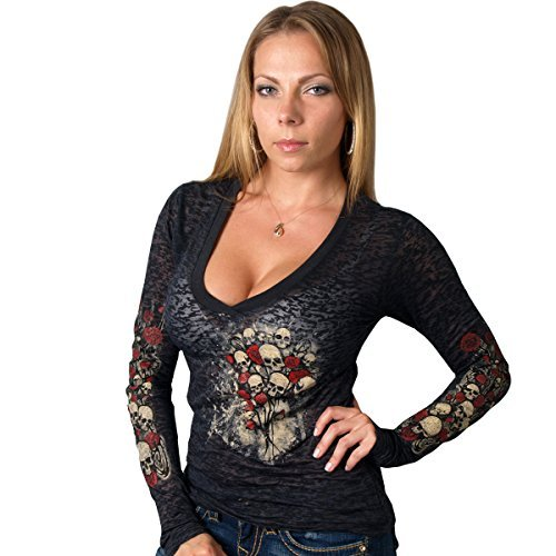 Hot Leathers Skull Bouquet Ladies Burnout Long Sleeve Tee (Black, Large) by Hot Leathers