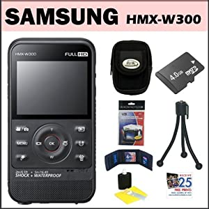 Samsung HMX-W300 Waterproof HD Pocket Camcorder Black + 4GB Micro SD + Flexible Mini Tripod + Accessory Kit