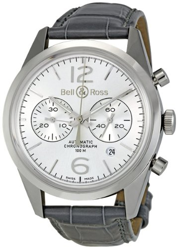 Bell & Ross Men's BR126-OFFICER SILVER Vintage Silver Chronograph Dial Watch