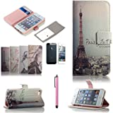 ATC Lumsing(TM) Art Series Vintage Retro Paris France Eiffel Tower & Girls PU Leather Wallet Type Magnet Design Flip Case Cover Credit Card Holder Pouch Case for IPhone 5 iPhone 5S with Screen Protector+ Stylus (wallet case Eiffel Tower)