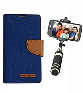 Aart Fancy Wallet Dairy Jeans Flip Case Cover for Redmi2S (Blue) + Mini Fashionable Selfie Stick Compatible for all Mobiles Phones By Aart Store