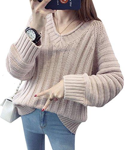 (ココアンドユカ) COCO&YUKA セーター V ネック 長袖 レディース ざっくり 編み込 ゆったり (ピンク)