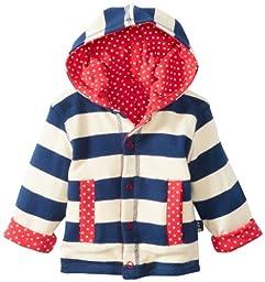 JoJo Maman Bebe Baby-Girls Newborn Classic Reversible Hooded Sweatshirt, Navy/Cream Stripe, 6-12 Months