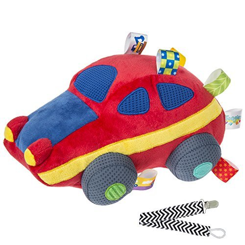 Mary Meyer 40054 Wheelies Sports Car Taggies Soft Baby Toy with Pacifier Clip - 1