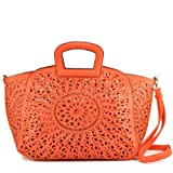 Melie Bianco Womens Nancy Perforated Laser Cut Shoulder Tote, Red, One Size