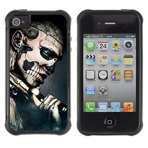 ZAKO Cases / Apple Iphone 4 / 4S / 47th Ronin Tattoo Skull / Robusto Antiurto Custodia Portafoglio Snello caso copertura Shell armatura Case Cover Slim Armor
