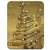 Gold Swirled Christmas Tree with Star & Baubles Premium Quality Thick Rubber Mouse Mat Pad Soft Comfort Feel Finish