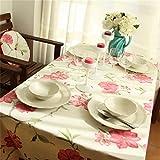 Spakeno ハイグレード綿大き赤い花柄 テーブルクロス デスクカバー テーブルカバー 140×140cm AK18-11-HH [並行輸入品]
