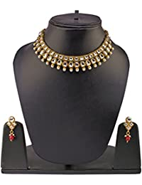 Traditional Kundan Jewellery Set For Women – Gold Plated Kundan Necklace Set With Earrings By FreshVibes