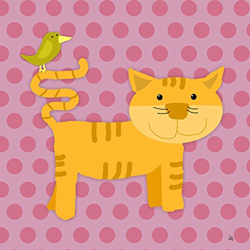 Green Leaf Art Cat III Canvas Art, Small