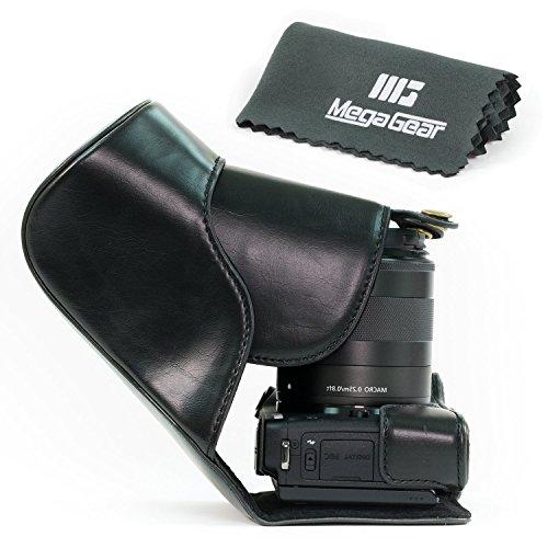 MegaGear-Leder-Kameratasche-fr-Canon-EOS-M3-mit-18-55mm-und-55-200mm-Kompakte-Systemkamera