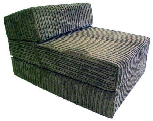 Sit or sleep single foam chair bed futon in grey jumbo cord