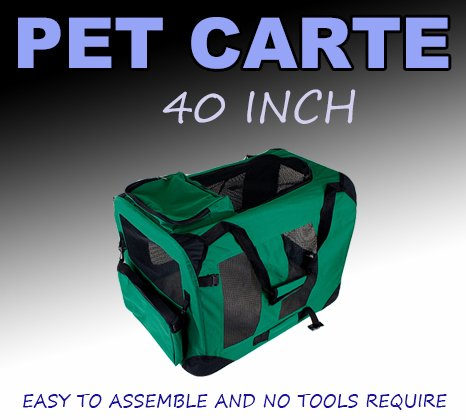 New Xl Dog Pet Puppy Portable Foldable Soft Crate Playpen Kennel House - Green front-821817