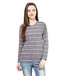 Hypernation Grey and Blue Stripe Round Neck Cotton T-shirt