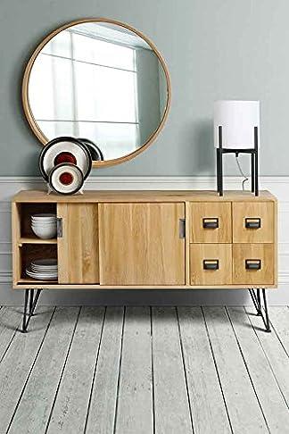 MY-Furniture FELIX credenza / madia / mobile TV stile industriale in rovere massiccio e acciaio