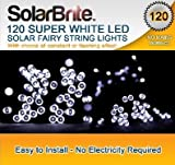 Solar Brite Solar Fairy Lights 120 Super Bright White LED Decorative String, choice of light effect. Ideal for Trees, Gardens, Parties & More...