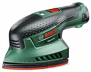 "Bosch Home & Garden PSM 10,8 LI Akku-Multischleifer ""Easy"", Ladegerät, Akku, Schleifblätter, Adapter für Staubsauger (10,8 V, 1,3 Ah)"