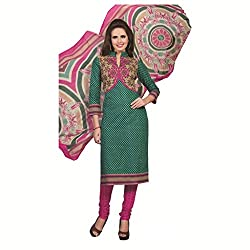 Rajnandini women's cotton Printed Unstitched salwar suit Dress Material (Green _Free Size)