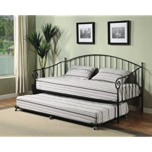Black Metal Twin Size Day Bed (Daybed) Frame with Pop Up Trundle & Mattresses