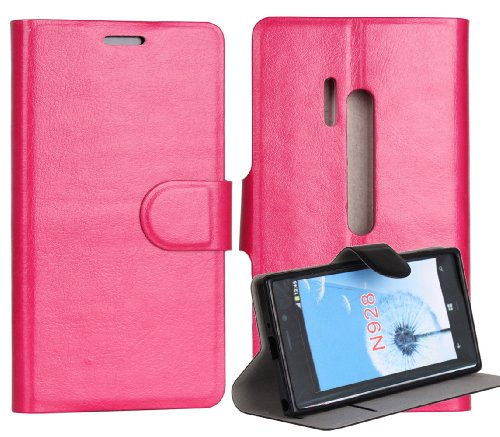 Lanzero@ Nokia 928 Snap-on Thin Side Flip(Stand/Id Card Slot/magnetic Closure) Premium Pu Synthetic Leather Cover Case with FREE Ultimate Clear Plus Screen Protector For Nokia Lumia 928 (Rosy)