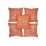 Rajrang Orange Cotton 0 Cushion Cover Set Of 5 Pcs #Ccs06288