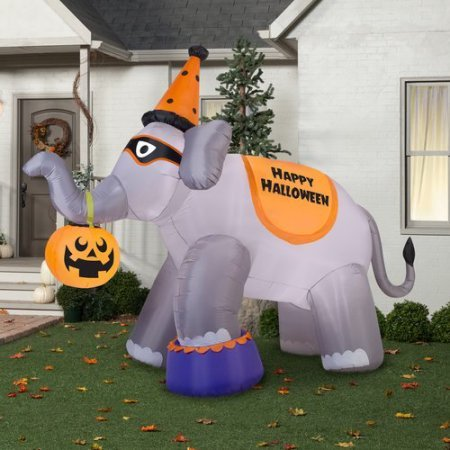 [Gemmy Airblown Inflatable 9' X 11' Giant Elephant Halloween Decoration] (Poseidon Greek God Costume)