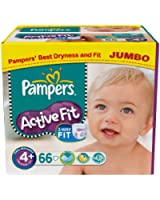 Pampers - 81212853 - Active Fit Couches - Taille 4+ Maxi + (9-20 Kg) - Jumbopack 2 X 66 - 132 Couches