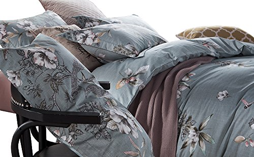 Exotic Modern Floral Print Bedding Birds Peacock Hummingbird Flowers Dusty Grey Design 100% Cotton Full Queen Duvet Cover 3pc Set Hibiscus Blossom Branches in Muted Gray Blue Full Queen Size 1