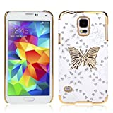 TPT 1pc Bling Leather Butterfly Case Cover for Samsung Galaxy S5 I9600 G900 (White)