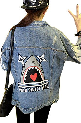 Minetom BF Denim Giacca da Donna Stampa Giacca di Jeans Capispalla Outerwear Giubbino Corto Top Shark One size fit IT38-IT40