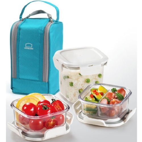 Lock & Lock Bpa Free Lunch Box Set With Insulated Bag + 3 Tritan Containers (Blue)