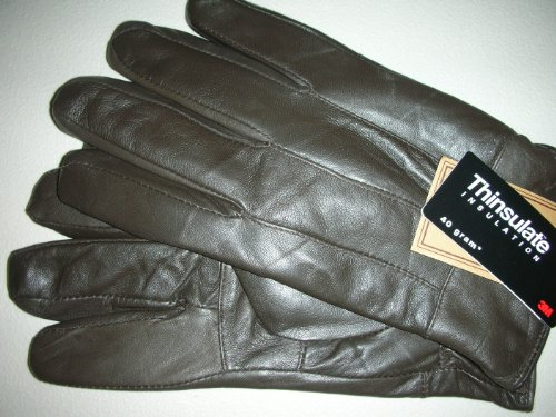 all sizes Men/'s Thinsulate Insulated Genuine Leather Gloves Brown