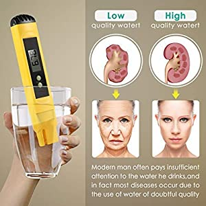 Digital PH Meter, PH Meter 0.01 Resolution Pocket Size Water Quality Tester with ATC 0-14 pH Measurement Range for Household Drinking Water, Aquarium, Swimming Pools, Hydroponics (Color: Yellow)