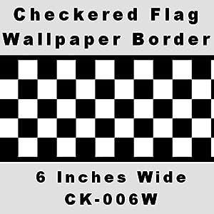 Checkered Flag Cars Nascar Wallpaper Border-6 Inch (Black Edge), Home Improvement Tool by CheckeredWallpaperBorder.com