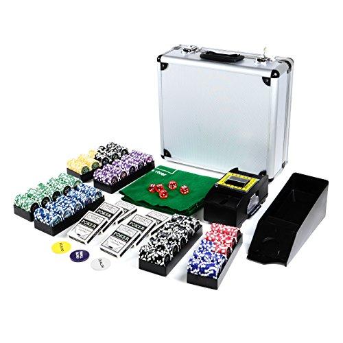 Pokerkoffer 600 Pokerchips OCEAN CHAMPION CHIP 11g Pokerset mit VIEL ZUBEHÖR Kartenmischer Kartengeber Spielmatte Kunststoff Pokerkarten