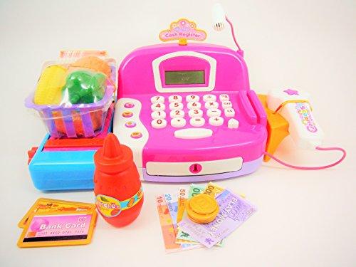 Pretend play cash register with accessories sound light scanner