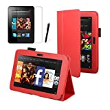 """Red Luxury Multi Function Standby Case for the New Kindle Fire HD 7"""" Tablet 16GB or 32GB with Built-in Magnet for Sleep / Wake Feature + Screen Protector + Capacitive Stylus Pen"""