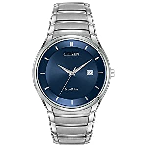 Citizen Watch Men's Quartz Watch with Blue Dial Analogue Display and Silver Stainless Steel Bracelet BM6950-50L