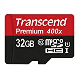 Transcend 32GB MicroSDHC Class 10 UHS-1 Memory Card with Adapter Up to 60MB/s (TS32GUSDU1P)