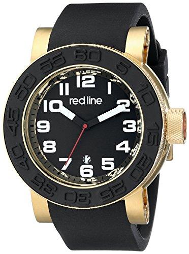 Red Line Men's Xlerator 52mm Black Silicone Band Steel Case Quartz Date Analog Watch 50051-YG-01
