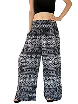 Orient Trail Women's Aztec Tribal Design Yoga Wide Leg Harem Pants Black US Size 4-18