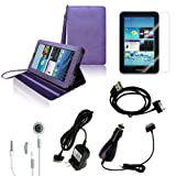 CrazyOnDigital Purple Stand Leather Case with Charger and Screen Protector For Samsung Galaxy Tab 2 10.1 (6-item)