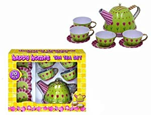 Happy Homes Kids Vintage Style 10 Piece Tin Teaset Childrens Toy Tea Set