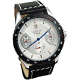 Seasonwind Mens Analog Skeleton Fashion Leather Band Automatic Mechanical Wrist Watch White