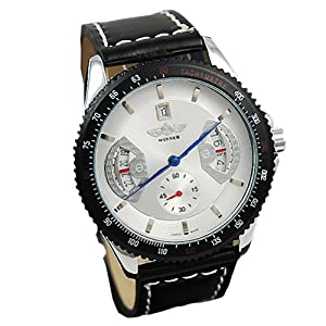 Seasonwind Mens Analog Skeleton Fashion Leather Band Automatic Mechanical Wrist Watch White