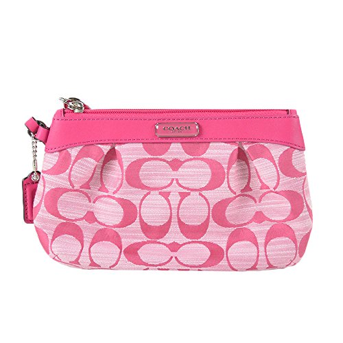 Coach   Coach Shangtung Pleated medium Wristlet Pink 48754