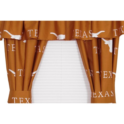Texas Longhorns Collegiate Drapes - Long Ncaa Orange Window Treatment front-156013