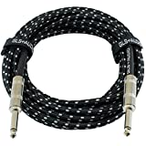 GLS Audio 20 Foot Guitar Instrument Cable - 1/4-Inch TS to 1/4-Inch TS 20 FT Black Gray Tweed Cloth Jacket - 20 Feet Pro Guitar Cord 20' Phono 6.3mm Cord - SINGLE